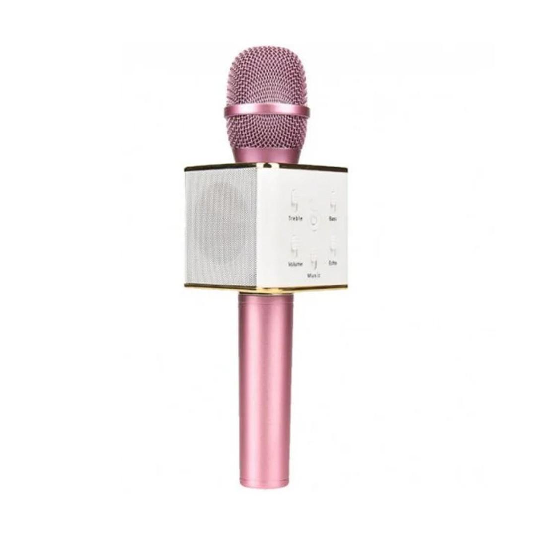 Караоке-микрофон 2 в 1 Q7 rose с чехлом. Беспроводной (блютуз)