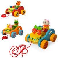 Деревянная игрушка Каталка MD1229  3вида, животные, каталка на колесах, с веревкой, звук, в пакете
