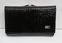 Кошелек лаковый черный женский кожаный компактный Balisa B825-41 монетница на защелке снаружи 13см * 8 см, фото 1
