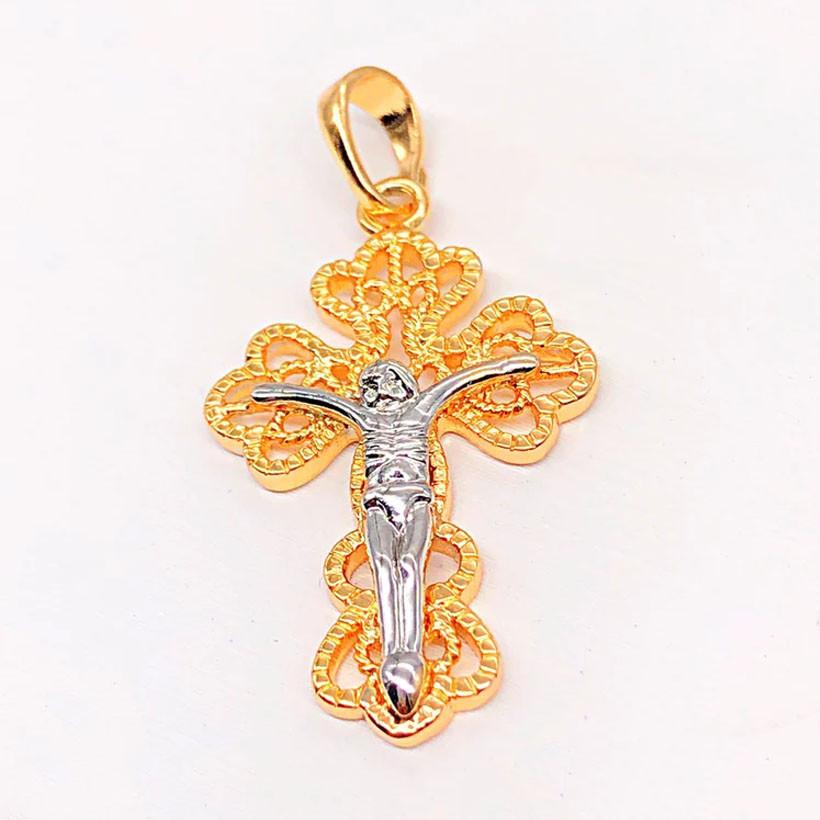 Крестик Xuping Jewelry с распятием медицинское золото, позолота 18К + родий А/В 4791