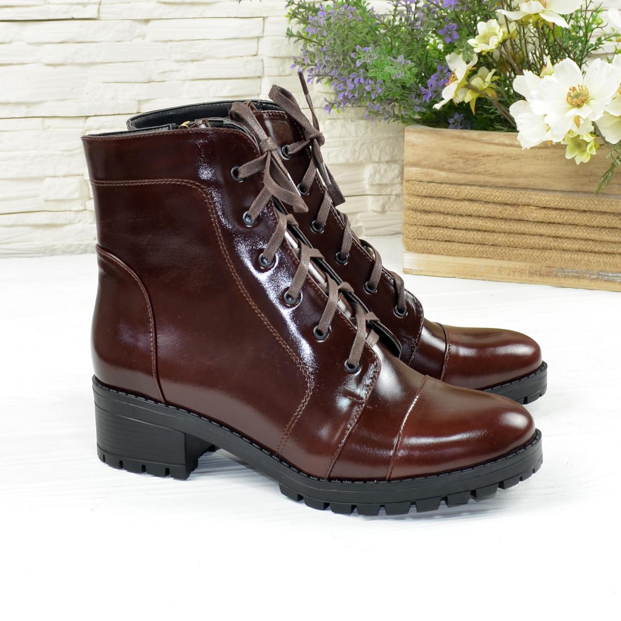 Ботинки коричневые женские   на устойчивом каблуке, натуральная кожа рабат.