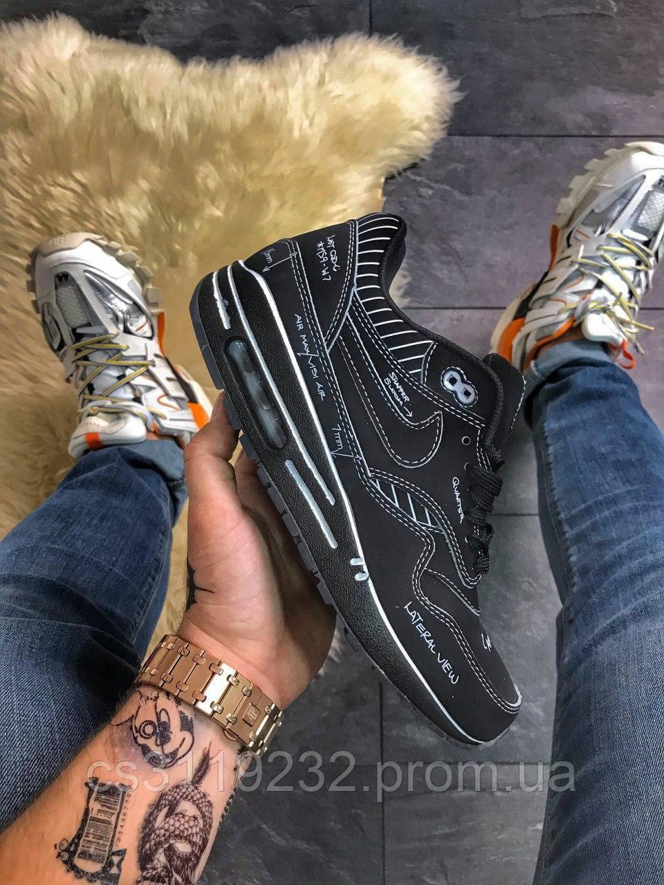 Мужские кроссовки Nike Air Max 87 Swoosh Out Black (черные)