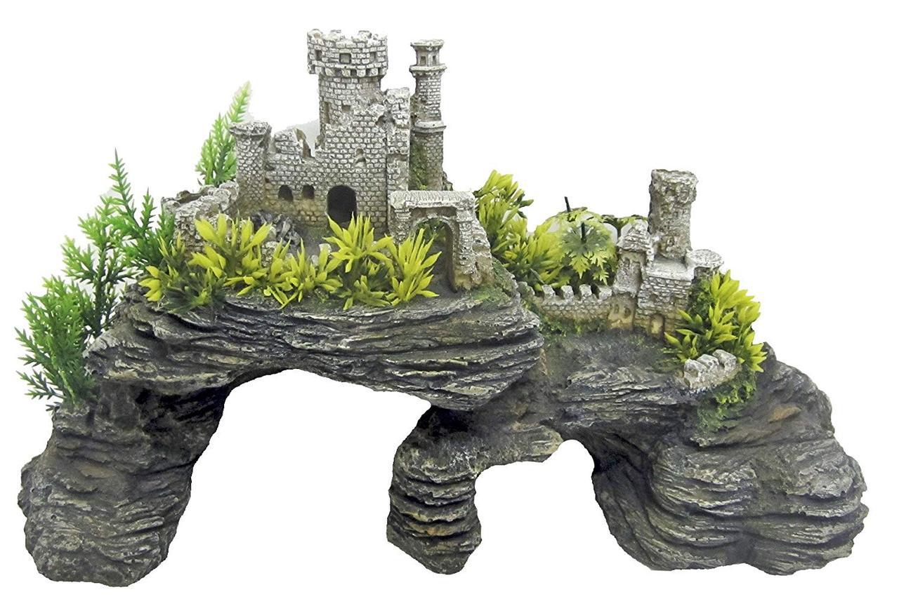 Декорация керамическая Замок на скалах L, 34,5x16x18 см