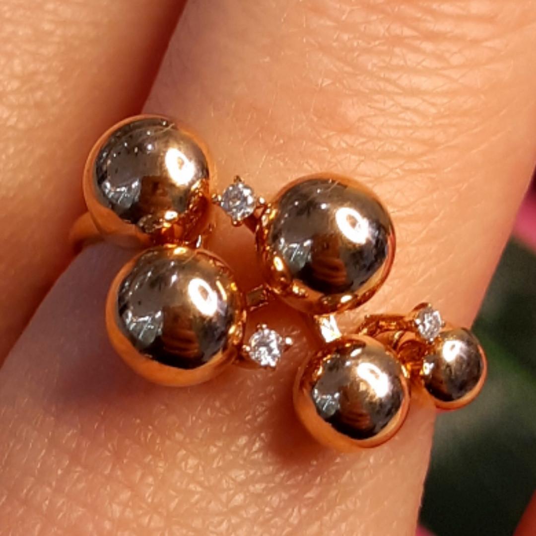 Золотое кольцо Шарики - Женское необычное золотое кольцо