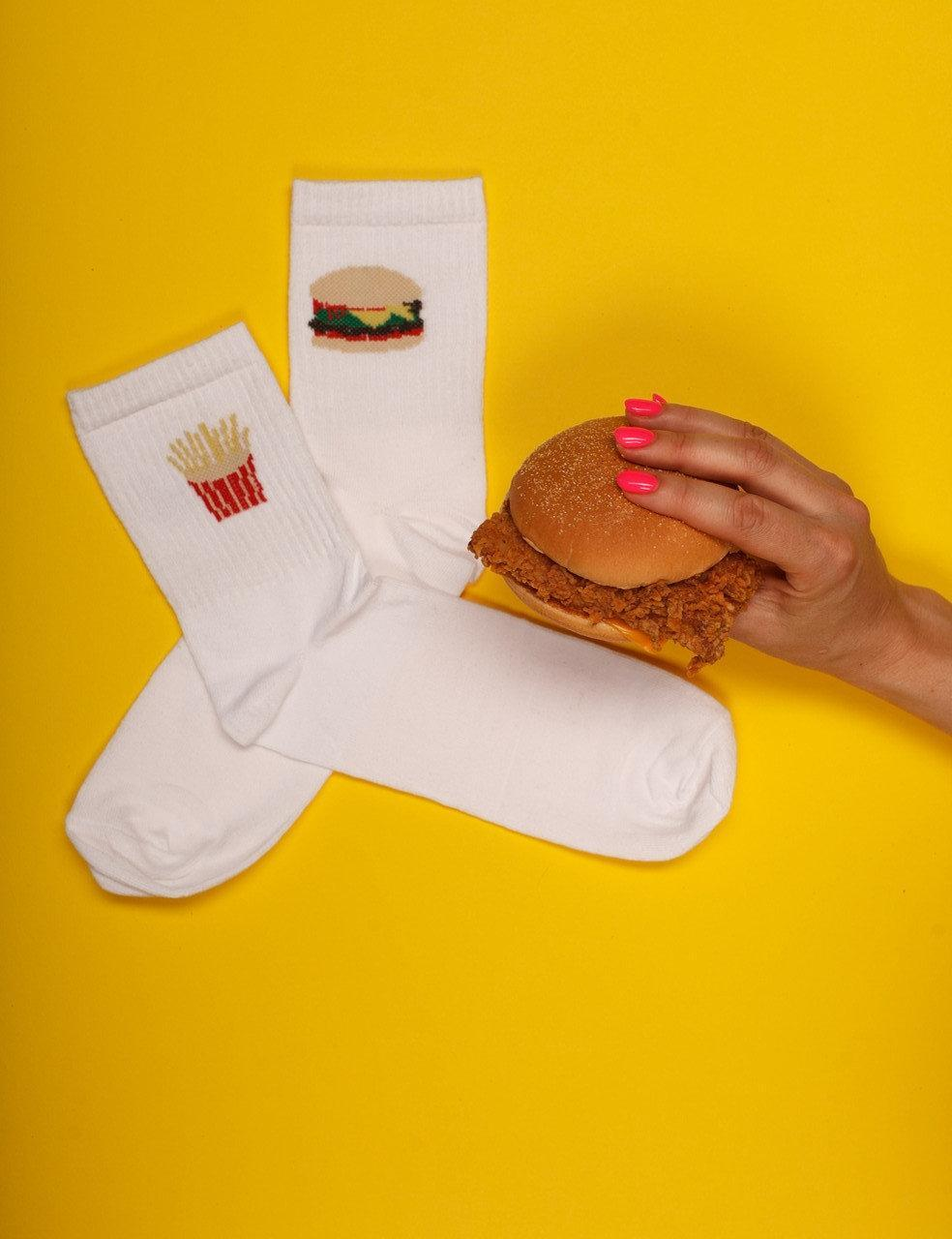 """Носки белые мужские с принтом """"Бургер"""""""