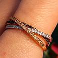 Тройное кольцо из комбинированного золота - Кольцо дорожка из лимонного, белого и красного золота 585 пробы, фото 6