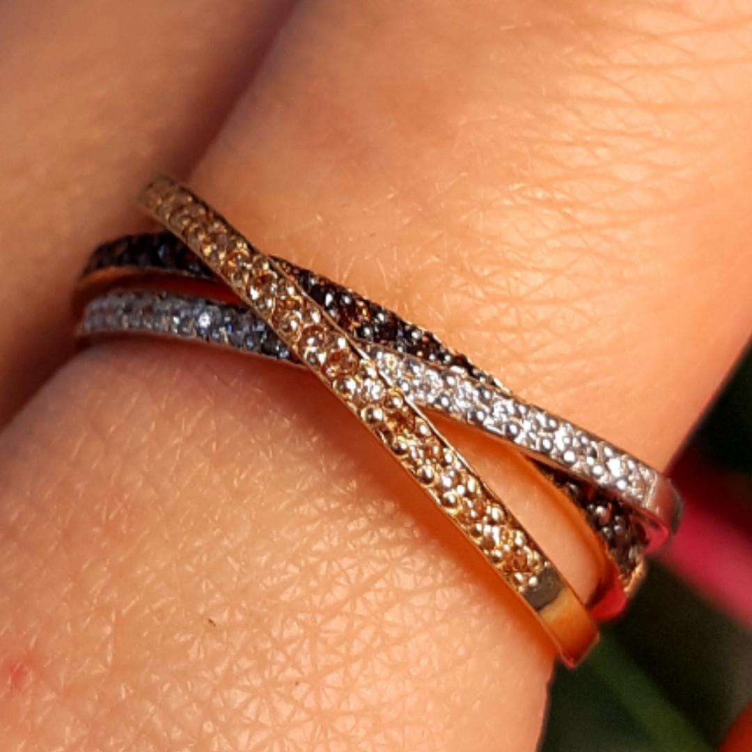 Тройное кольцо из комбинированного золота - Кольцо дорожка из лимонного, белого и красного золота 585 пробы