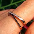 Тройное кольцо из комбинированного золота - Кольцо дорожка из лимонного, белого и красного золота 585 пробы, фото 3