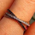 Тройное кольцо из комбинированного золота - Кольцо дорожка из лимонного, белого и красного золота 585 пробы, фото 2