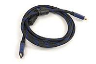 Видео кабель PowerPlant HDMI - HDMI, 2м, позолоченные коннекторы, 1.4V, Nylon, Double ferrites