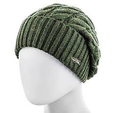 Шапка женская шерсть мериноса №570 размер 56-59 зеленая