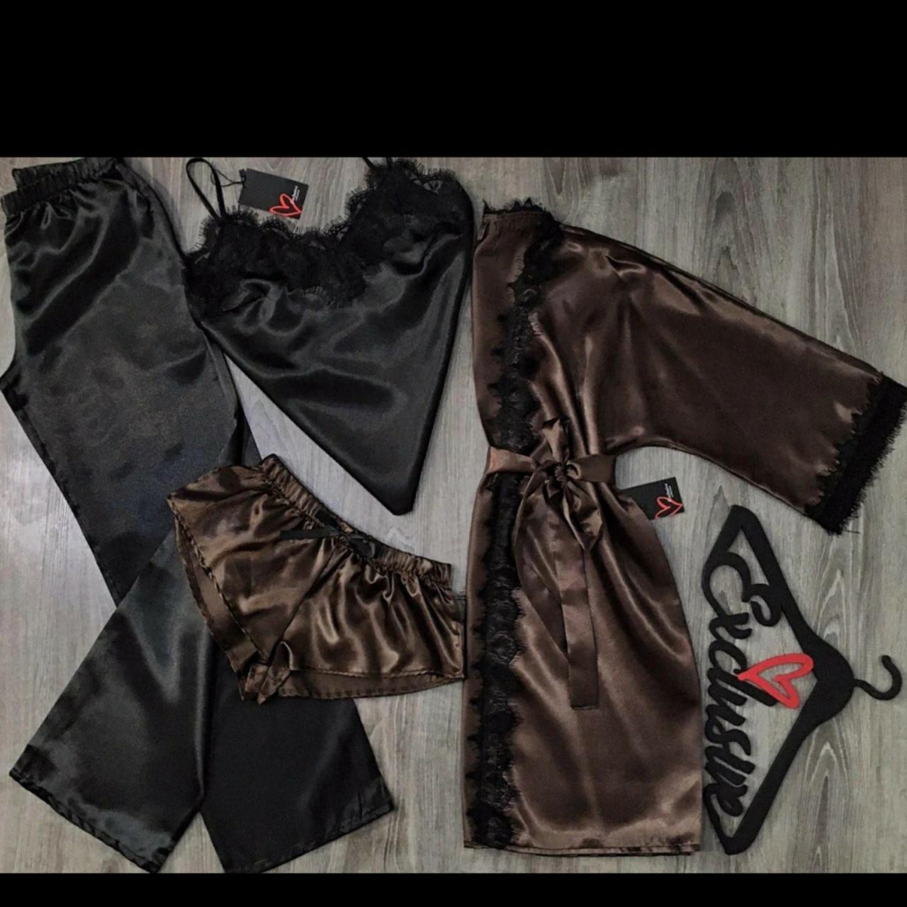 Коричневый набор одежды халат и пижама(майка+штаны+шорты).