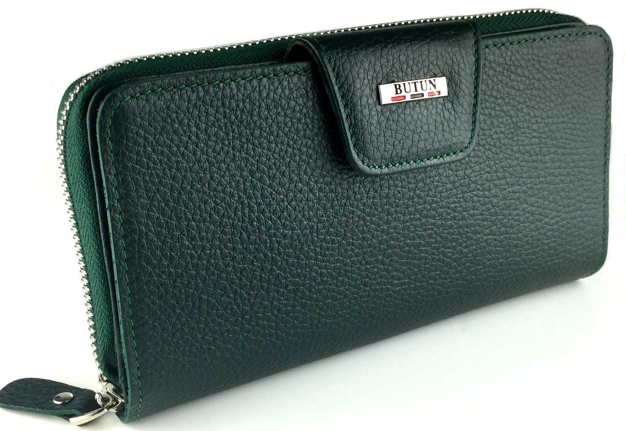Женский кошелек BUTUN 591-004-009 кожаный зеленый на два автономных отделения