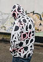 Ветровка мужская D&G белая с большими буквами (реплика)