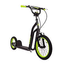 """Самокат подростковый с надувными большими колесами """"RAIDER"""" Черный. Колёса 16-12 дюймов"""
