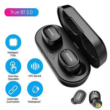 Bluetooth наушники Awei T13 (с блоком для зарядки, черные)
