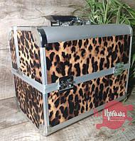 Кейс для мастера маникюра/визажиста/парикмахера металлический, большой, Леопард, фото 1