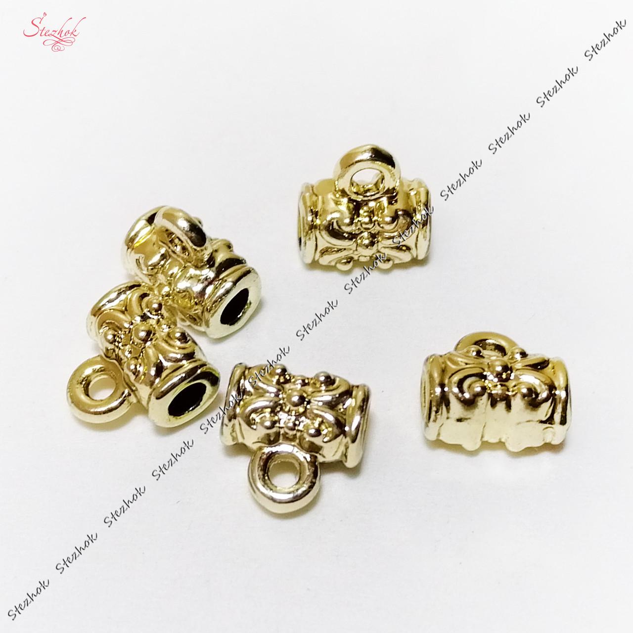Металлические бейлы-бусины с кольцом 7х7 мм золотое покрытие для рукоделия