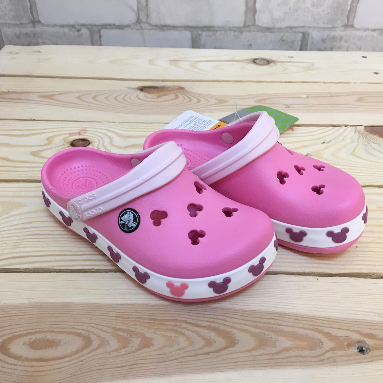 Кроксы летние Crocs Crocband Mickey ІI Kids розовые 34 разм. J3