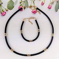 Каучуковый шнурок + браслет Xuping Jewelry 43/46 см со вставками, медицинское золото, позолота 18К А/В 4793