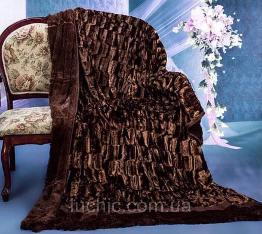 Плед-покрывало Норка Шоколад  220*240 см (двухсторонний)