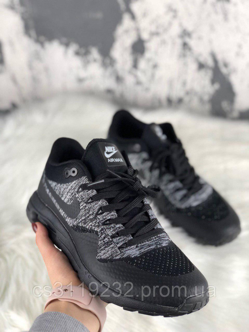 Мужские кроссовки Nike Air Max 87 Flyknit Black Grey (черные)