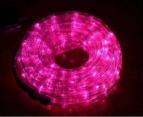 "Наружная Герметичная LED гирлянда Дюралайт  ""Duralight"" 10 метров Розовая Pink, 180 Ламп, 8 режимов"