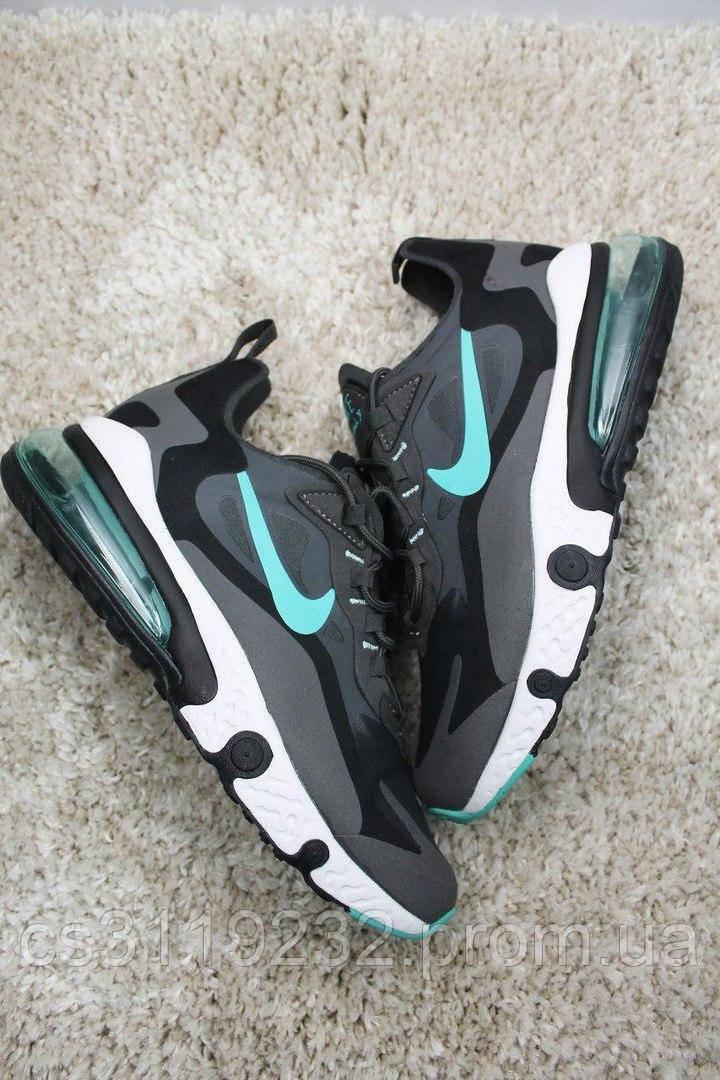 Мужские кроссовки Nike Air Max 270 x React Element Gray Black Blue (серые)