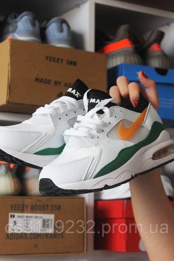 Мужские кроссовки Nike Air Max 93 White Green (бело-зеленые)