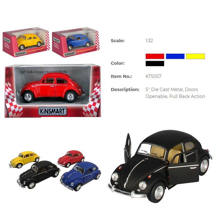 Модель машини KINSMART KT5057WM (96шт/4) Volkswagen Classical Beetle Matte, інерц. відкр. дв. в кор. 16*8*7,5