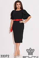 Изящное платье-футляр средней длины с ярким красным поясом в комплекте с 48 по 54 размер, фото 1