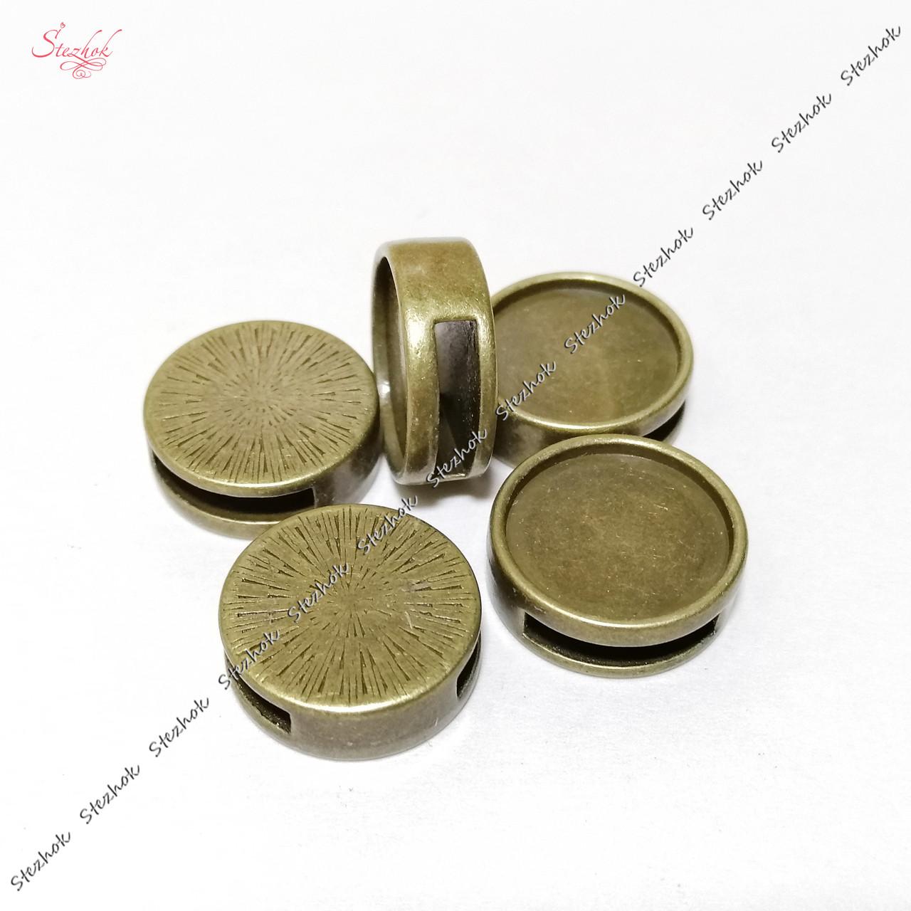 Металлическая бусина ползунок для шнура 14х4 мм бронза для рукоделия