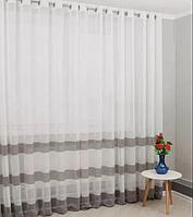 Современный льняной тюль c декоративными коричневыми полосками по низу, возможность подобрать штору и пошив
