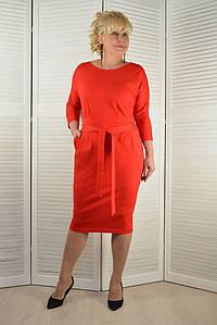 Платье красное с поясом - Модель Л189-6 ( 46 размер )