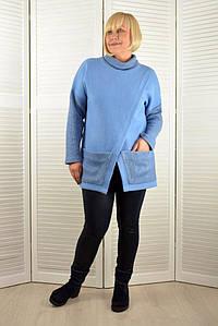 Жилет на запах голубой ангора - Модель Л627-3 ( 54 размер )