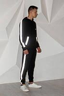 Олимпийка на змейке чёрная Quest Wear с рефлективными лампасами
