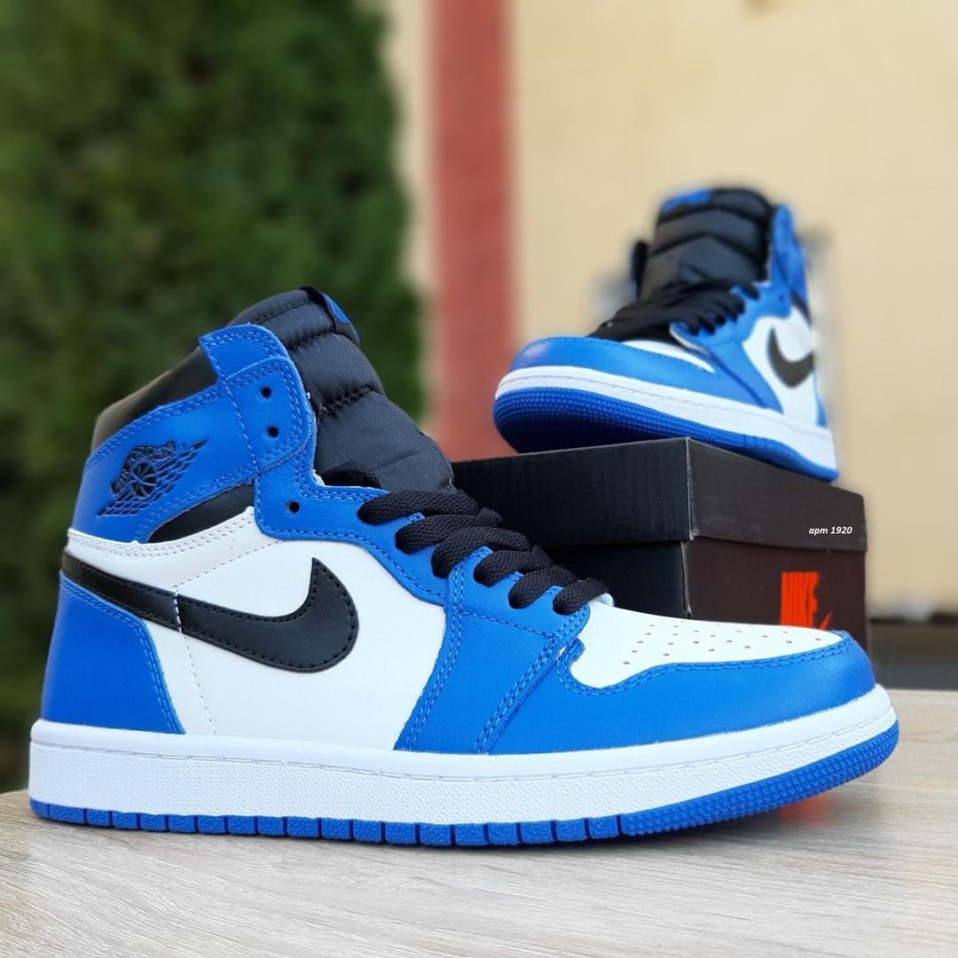 Мужские кроссовки Nike Air Jordan 1 Retro (сине-белые)