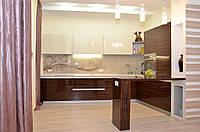 Кухонная мебель ― стекло верх и шпон низ, фото 1