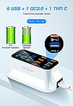 Быстрая зарядка на 8 портов 3.0 светодиодный дисплей USB, фото 3
