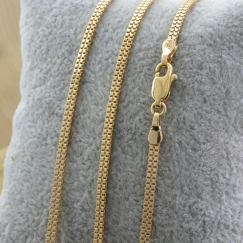 "Цепочка Xuping Jewelry 49 см х 2 мм ""Венецианская двойная"" медицинское золото, позолота 18К. А/В 4454"
