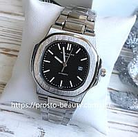 Мужские кварцевые часы Patek Philippe Nautilus (Патек Филипп) стальные чёрный циферблат