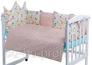 Детская постель Babyroom Classic Bortiki-01 (6 элементов)  бирюза-бежевый-белый (лесные звери)