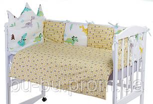 Детская постель Babyroom Classic Bortiki-01 (6 элементов)  белый-серый-горчичный (динозавры)