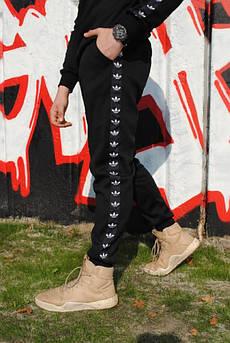 Штаны утеплённые чёрные с чёрно-белыми лампасами Adidas