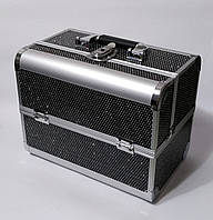Б'юті алюмінієвий кейс валізу з ключем чорний стрази гламур для майстрів