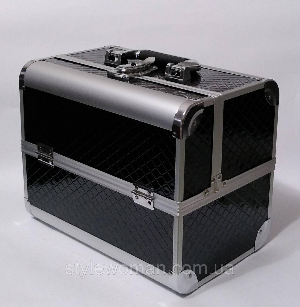 Бьюти кейс чемодан алюминиевый с ключом черный ромб для мастеров