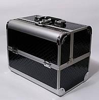 Бьюти кейс чемодан алюминиевый с ключом черный ромб для мастеров, фото 1