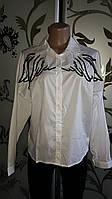 Женская белая рубашка, рисунок-крылья, 46-48