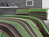 Постельное белье Weekend Ranforce Green stripes полуторного размера