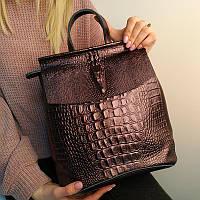 """Кожаный рюкзак-сумка (трансформер) с теснением под рептилию """"Крокодил Bright Brown"""", фото 1"""